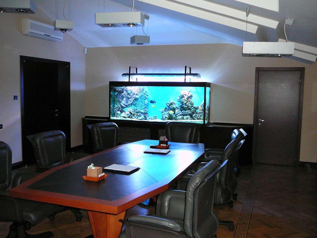 Морской аквариум 1300л. в кабинете.